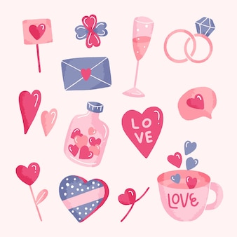 Hand-tekening valentijnsdag element collectie