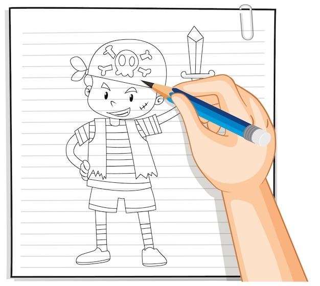 Hand-tekening van meisje met paraplu