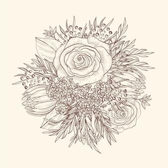 Hand-tekening van vintage bloemenboeket