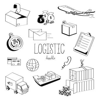 Hand tekenstijlen logistiek. logistieke doodle