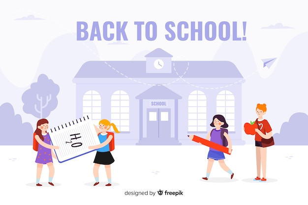 Hand terug naar school achtergrond getekend