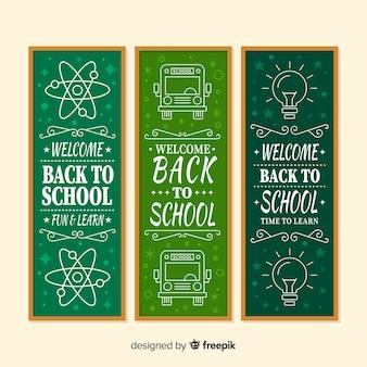 Hand terug naar school banners getrokken