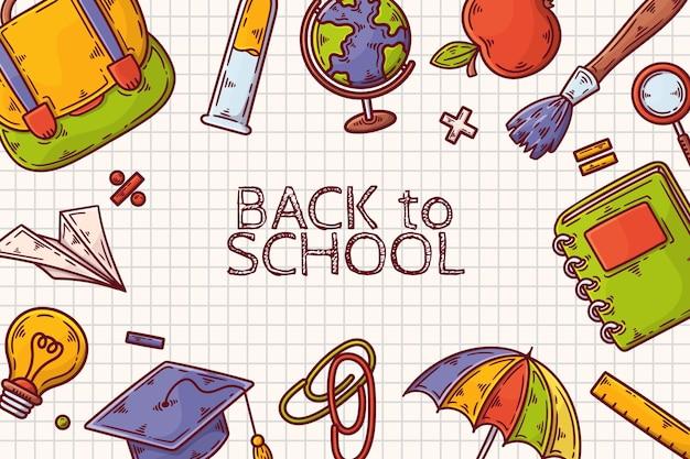 Hand terug naar school behang getekend