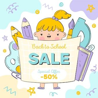 Hand terug naar school getrokken illustratie voor verkooppromotie