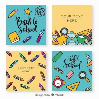 Hand terug naar school kaartsjabloon collectie getekend