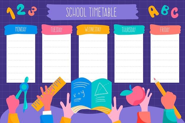 Hand terug naar school tijdschema sjabloon getekend