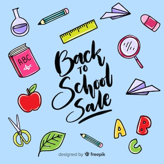 Hand terug naar school verkoop achtergrond getekend