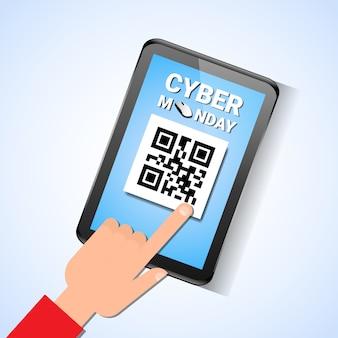 Hand touch digitale tablet met qr-code op scherm cyber maandag verkoop bericht