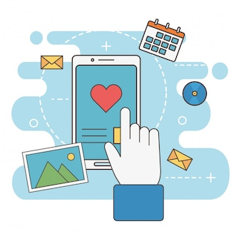 Hand touch smartphone liefde bericht netwerk sociale media