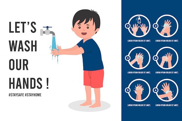 Hand tutorial poster illustratie wassen