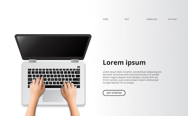 Hand typen laptop bovenaanzicht computer landing pagina schoon modern concept.