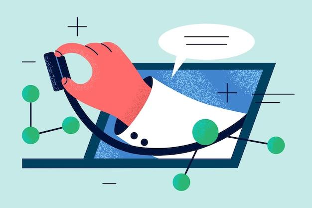 Hand van arts met een stethoscoop die uit laptopscherm steekt om verre patiënt te onderzoeken