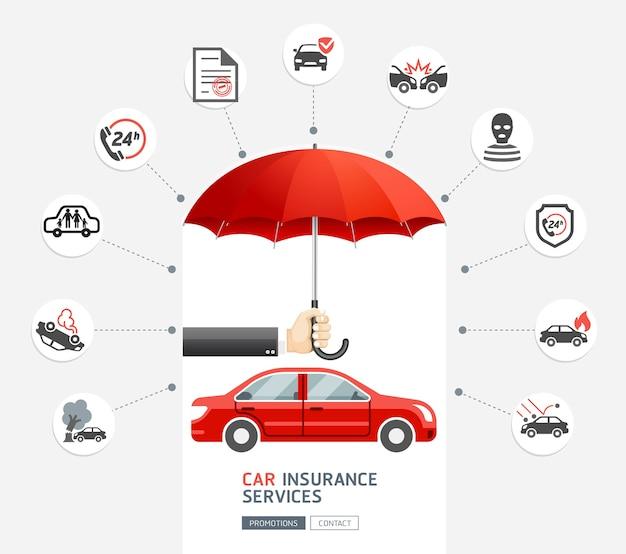 Hand van de bedrijfsmens die de rode paraplu houdt om rode auto te beschermen