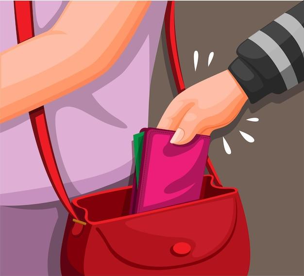 Hand van een dief die portemonnee uit de tas van een vrouw steelt