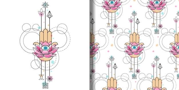 Hand van fatima aquarelprint en naadloos patroon