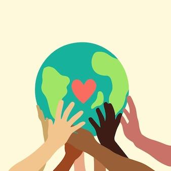 Hand van mensen met verschillende huidskleuren met earth globe icon symbool platte vectorillustratie