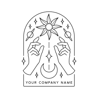 Hand van mudra hand getekende illustratie