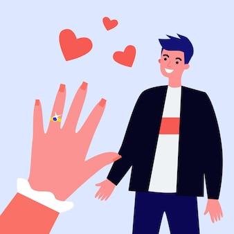 Hand van verloofde met verlovingsring illustratie