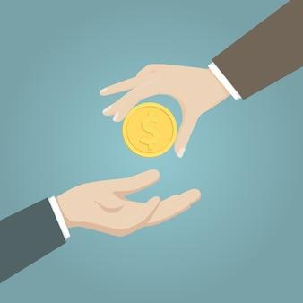 Hand van zakenman die en een gouden muntstuk geeft ontvangt.