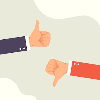 Hand van zakenman met afkeer en duimen omhoog feedback