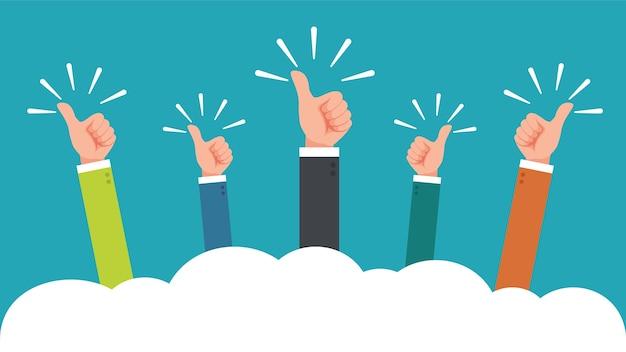Hand van zakenman met duimen omhoog feedback