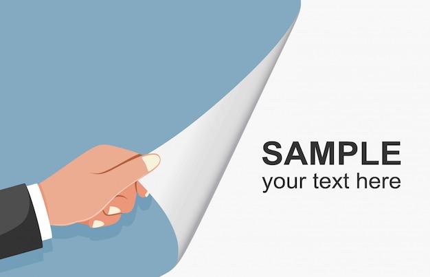 Hand verandert pagina in wit. hand draaien lege pagina.