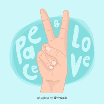 Hand vredesteken achtergrond