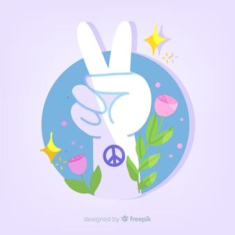 Hand vredesteken met tatoeage achtergrond