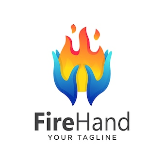 Hand vuur eenvoudig verloop logo