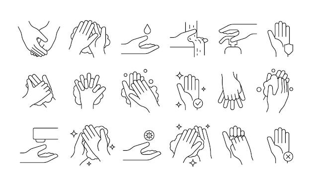 Hand wassen. zeep pomp schoonmaken hygiëne stap schuim badkamer medische symbolen vector illustraties. zeephygiëne voor de gezondheid, reinigingsmiddel desinfecteren