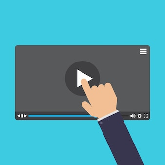 Hand wat betreft scherm, online leren