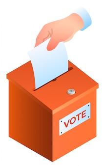 Hand zet de stemming in de stembus