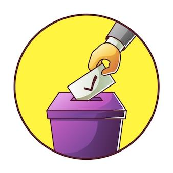 Hand zet stembulletin in stemmingsverkiezing