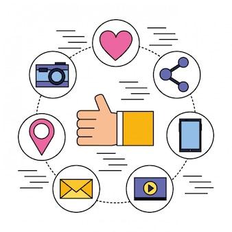 Hand zoals mobiele delen camera e-mail sociale media