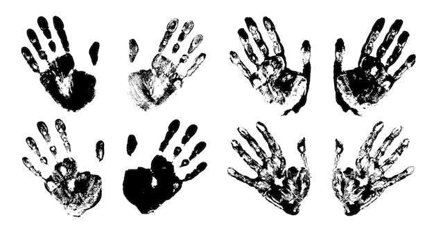 Handafdrukset. afdruk van een menselijke hand. palm afdruk. zwarte kleur. vectorgrungeillustratie.