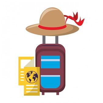 Handbagage met bruine hoed