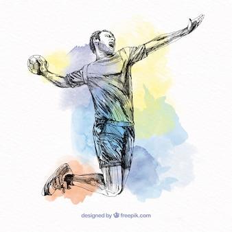 Handbalspeler in schetsstijl