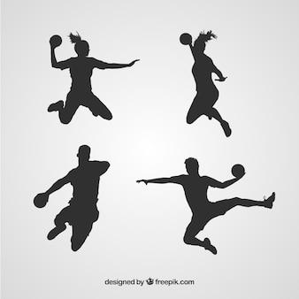 Handbalspelers silhouetteren