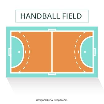 Handbalveld in vlakke stijl