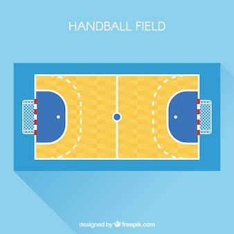 Handbalveld met bovenaanzicht in vlakke stijl