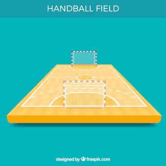 Handbalveld met perspectiefweergave