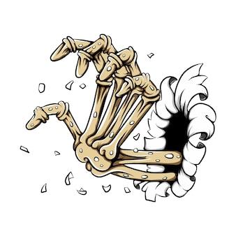Handbeenderen zonder de huid uit het gatenpapier voor de stickerinspiratie