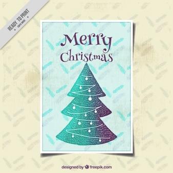 Handbeschilderd vintage kaart met kerstboom