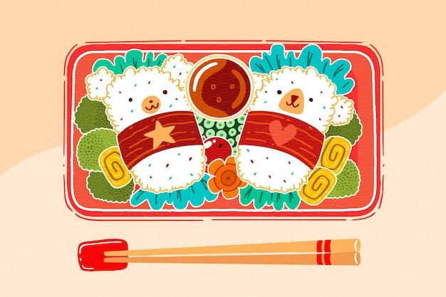 Handbeschilderde japanse lunchbox gevuld met eten
