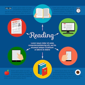 Handboeken en e-boek online cursussen vectorconcept
