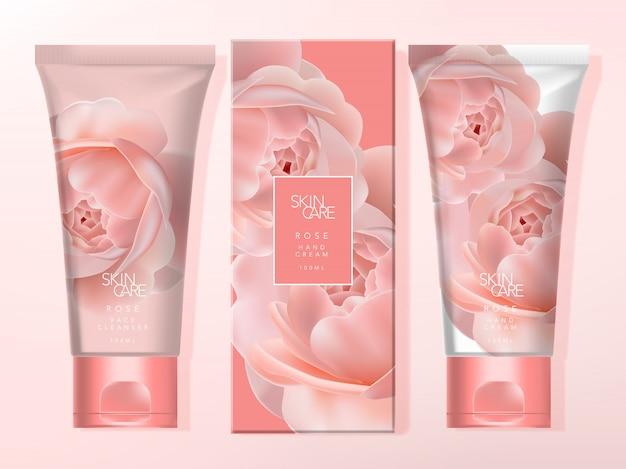 Handcrème & gezichtsreiniger set tube verpakking met kartonnen doos. rozenpatroon bedrukt met koraalkleurige flip-dop.
