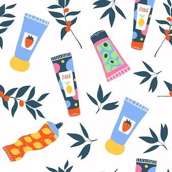 Handcrème schoonheid naadloos patroon kleurrijke buizen en flessen en bladeren bessen damesaccessoires vocht schoonheidsproduct