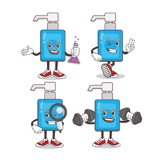 Handdesinfecterend cartoon mascotte tekenset