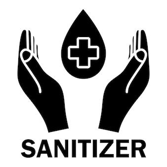 Handdesinfecterend glyph-pictogram sanitizer-symbool concept van hygiëne, netheid, desinfectie