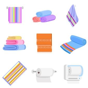 Handdoekpictogrammen instellen. platte set handdoek vector